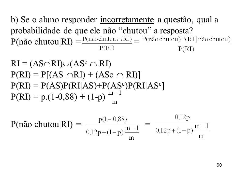 60 b) Se o aluno responder incorretamente a questão, qual a probabilidade de que ele não chutou a resposta? P(não chutou|RI) = = RI = (AS RI) (AS c RI