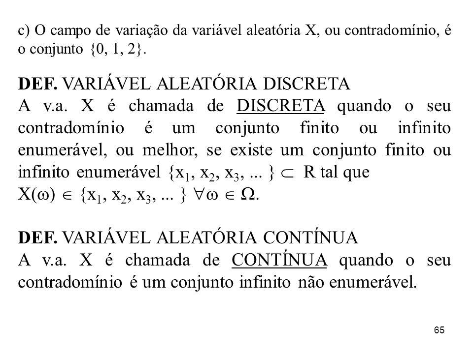 65 c) O campo de variação da variável aleatória X, ou contradomínio, é o conjunto {0, 1, 2}. DEF. VARIÁVEL ALEATÓRIA DISCRETA A v.a. X é chamada de DI