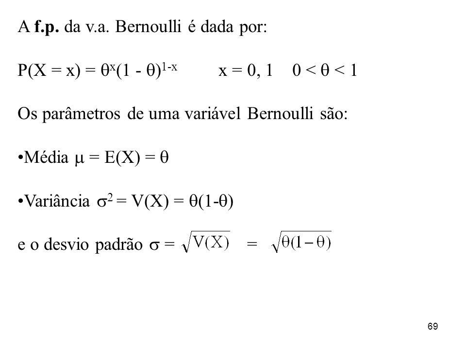 69 A f.p. da v.a. Bernoulli é dada por: P(X = x) = x (1 - ) 1-x x = 0, 1 0 < < 1 Os parâmetros de uma variável Bernoulli são: Média = E(X) = Variância