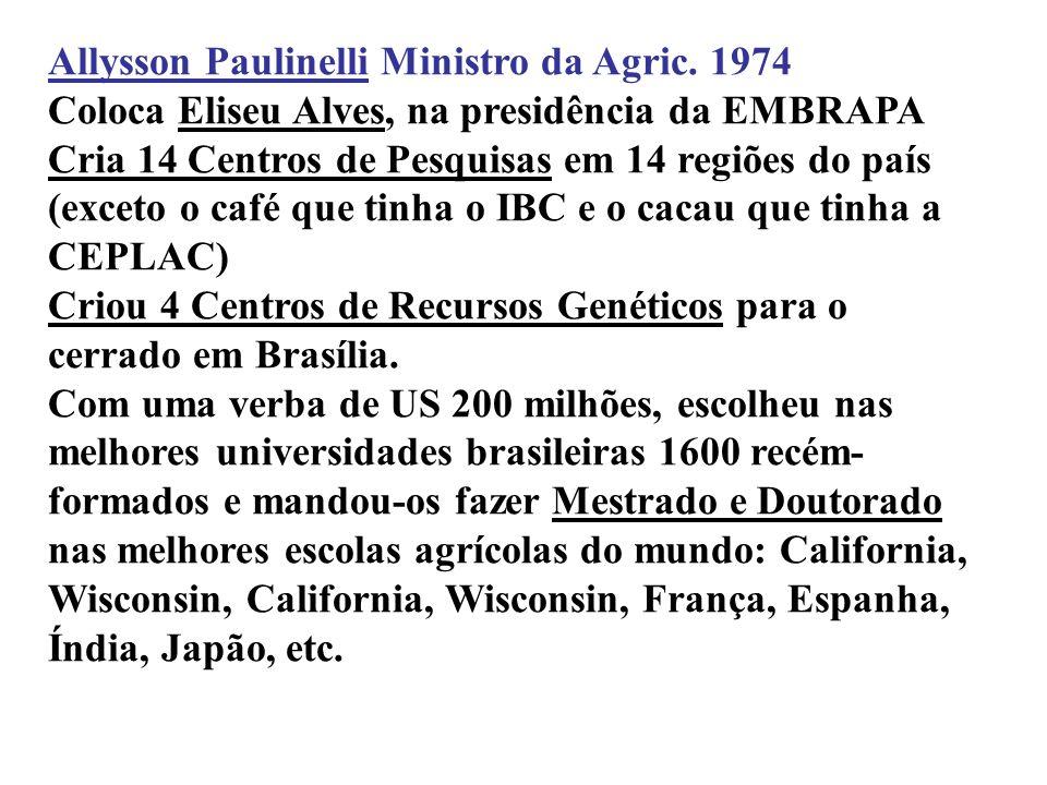 7 Allysson Paulinelli Ministro da Agric. 1974 linelli Coloca Eliseu Alves, na presidência da EMBRAPA Cria 14 Centros de Pesquisas em 14 regiões do paí