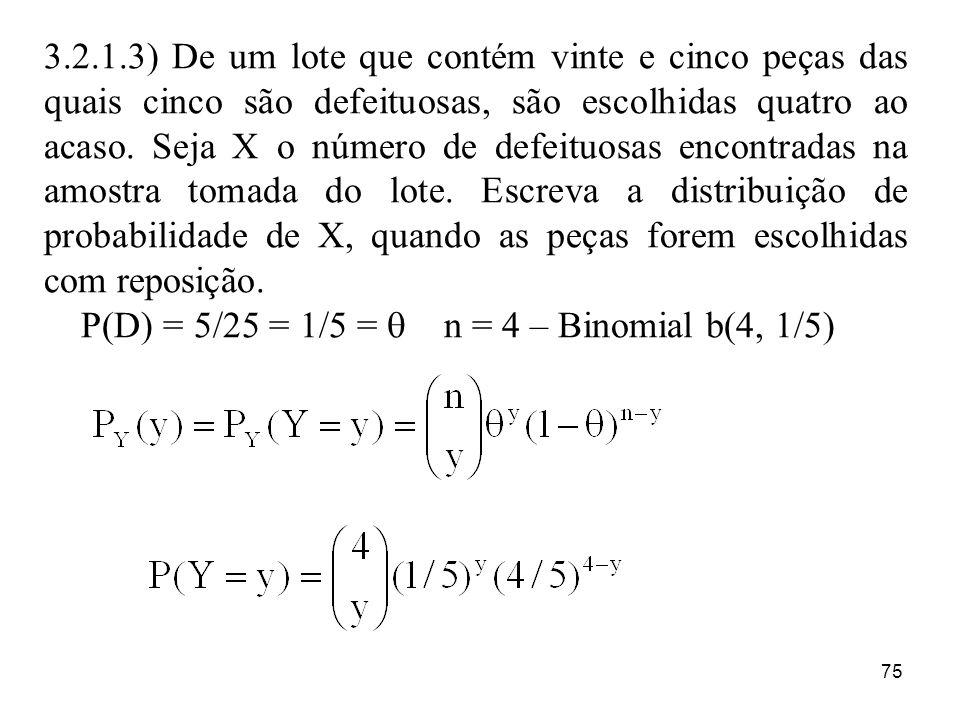 75 3.2.1.3) De um lote que contém vinte e cinco peças das quais cinco são defeituosas, são escolhidas quatro ao acaso. Seja X o número de defeituosas