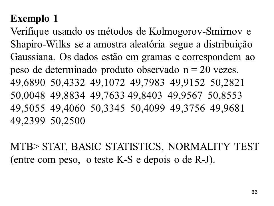 86 Exemplo 1 Verifique usando os métodos de Kolmogorov-Smirnov e Shapiro-Wilks se a amostra aleatória segue a distribuição Gaussiana. Os dados estão e