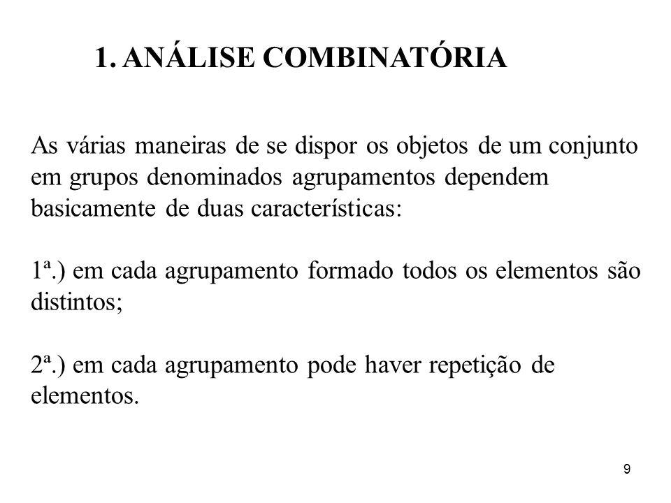 9 1. ANÁLISE COMBINATÓRIA As várias maneiras de se dispor os objetos de um conjunto em grupos denominados agrupamentos dependem basicamente de duas ca