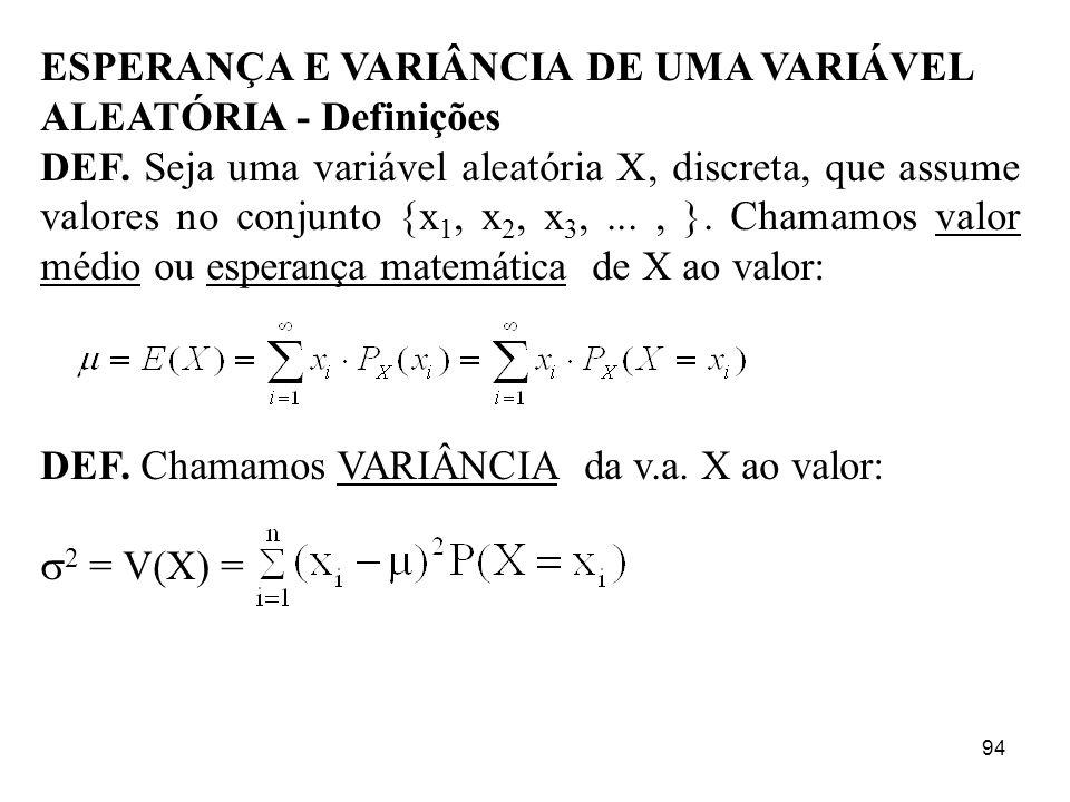 94 ESPERANÇA E VARIÂNCIA DE UMA VARIÁVEL ALEATÓRIA - Definições DEF. Seja uma variável aleatória X, discreta, que assume valores no conjunto {x 1, x 2