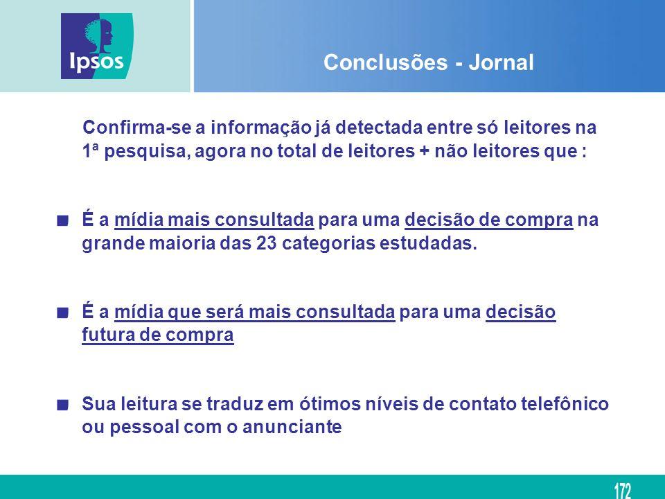 Conclusões - Jornal Confirma-se a informação já detectada entre só leitores na 1ª pesquisa, agora no total de leitores + não leitores que : É a mídia