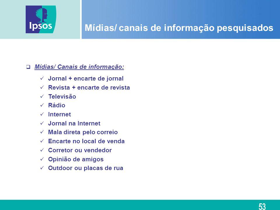 Mídias/ canais de informação pesquisados Mídias/ Canais de informação: Jornal + encarte de jornal Revista + encarte de revista Televisão Rádio Interne
