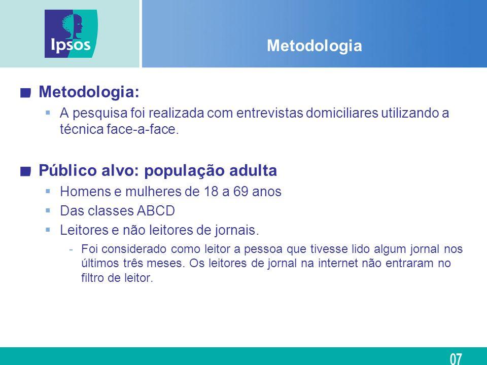 Metodologia Metodologia: A pesquisa foi realizada com entrevistas domiciliares utilizando a técnica face-a-face. Público alvo: população adulta Homens