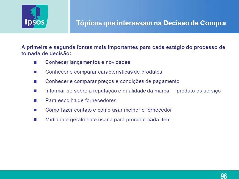 Tópicos que interessam na Decisão de Compra A primeira e segunda fontes mais importantes para cada estágio do processo de tomada de decisão: Conhecer