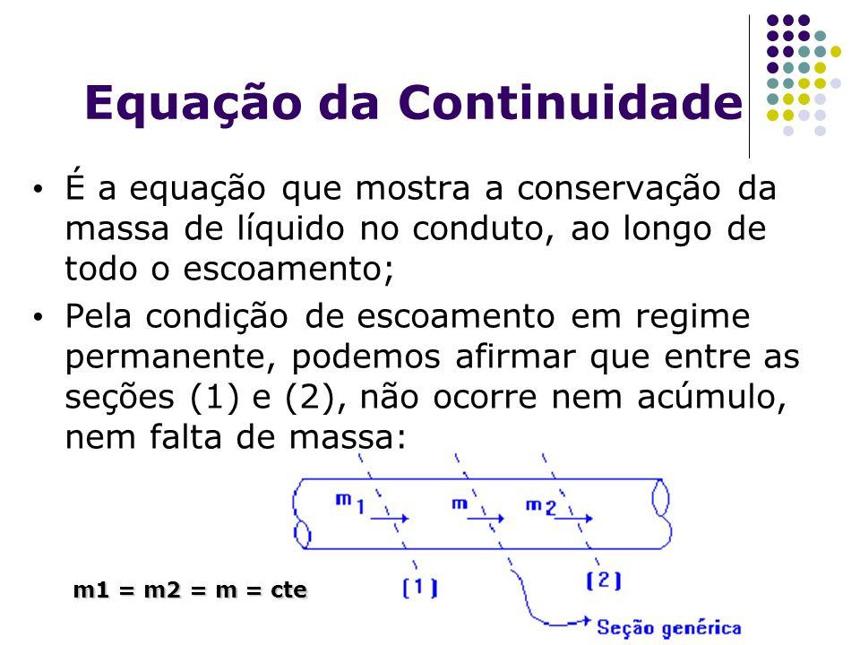 Equação da Continuidade É a equação que mostra a conservação da massa de líquido no conduto, ao longo de todo o escoamento; Pela condição de escoament