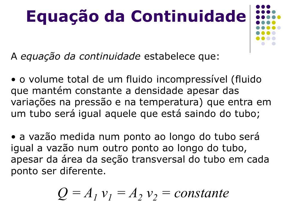 Equação da Continuidade Q = A 1 v 1 = A 2 v 2 = constante A equação da continuidade estabelece que: o volume total de um fluido incompressível (fluido