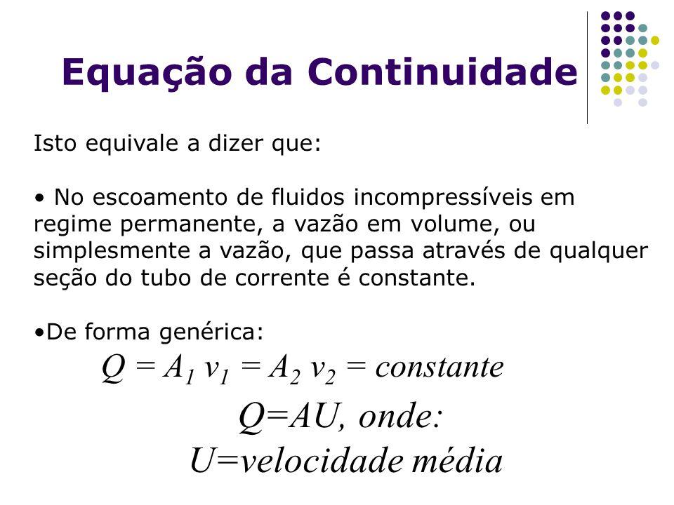 Equação da Continuidade Isto equivale a dizer que: No escoamento de fluidos incompressíveis em regime permanente, a vazão em volume, ou simplesmente a