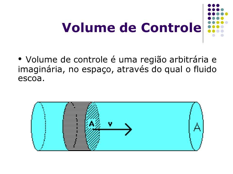 Volume de controle é uma região arbitrária e imaginária, no espaço, através do qual o fluido escoa. Volume de Controle
