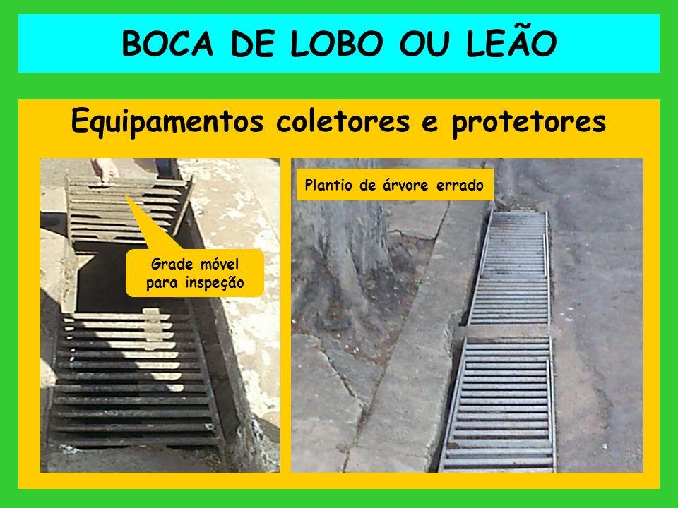 BOCA DE LOBO OU LEÃO Equipamentos coletores e protetores Grade móvel para inspeção Plantio de árvore errado
