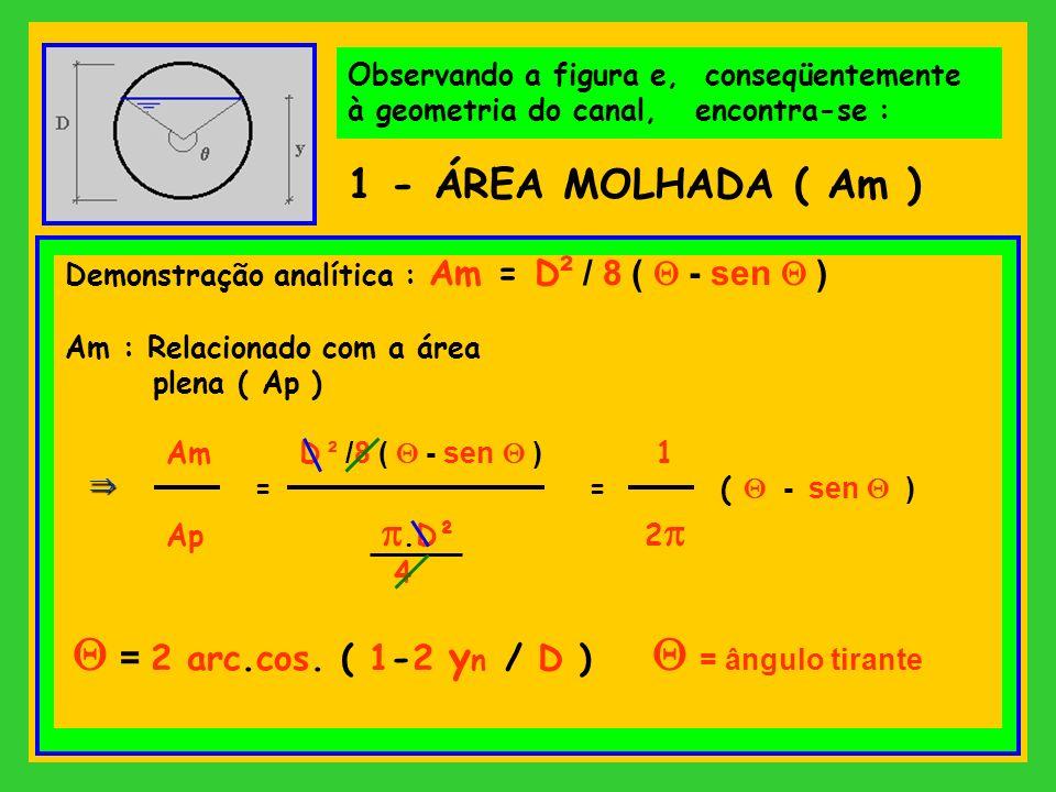 Observando a figura e, conseqüentemente à geometria do canal, encontra-se : 1 - ÁREA MOLHADA ( Am ) Demonstração analítica : Am = D ² / 8 ( - sen ) Am