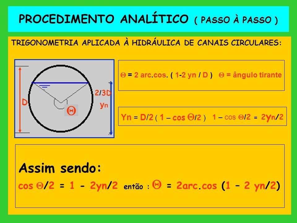 PROCEDIMENTO ANALÍTICO ( PASSO À PASSO ) TRIGONOMETRIA APLICADA À HIDRÁULICA DE CANAIS CIRCULARES: ynyn D = 2 arc.cos. ( 1-2 yn / D ) = ângulo tirante