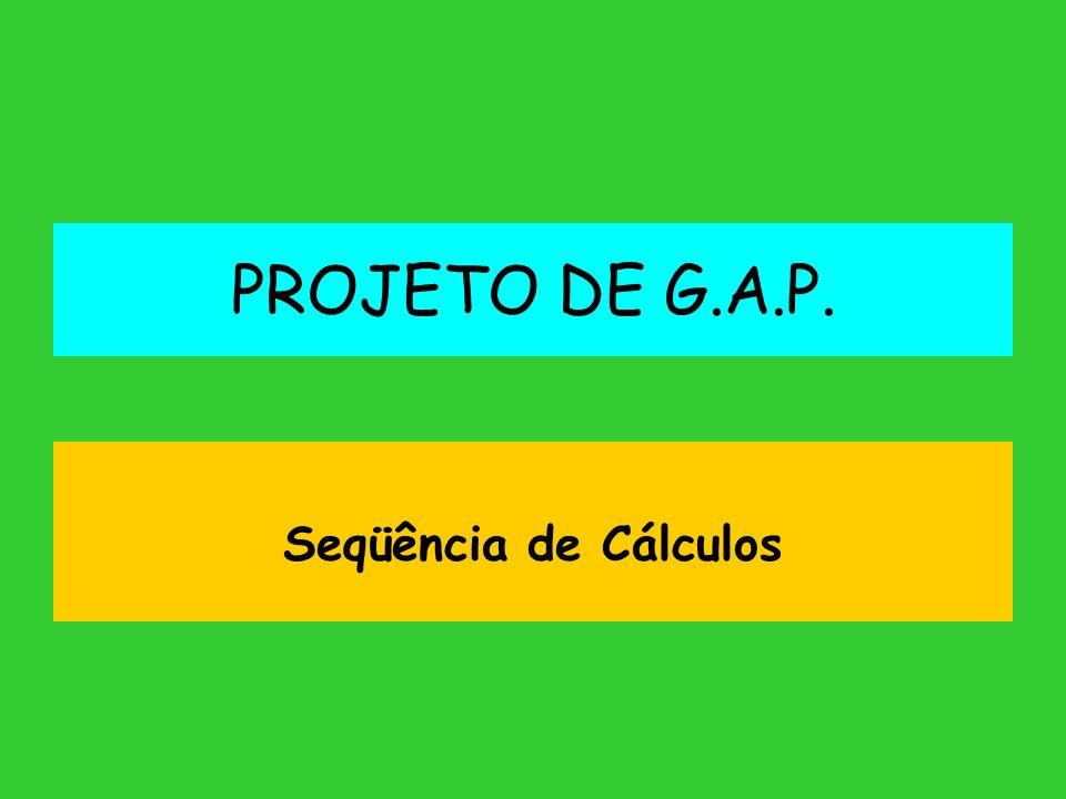 PROJETO DE G.A.P. Seqüência de Cálculos
