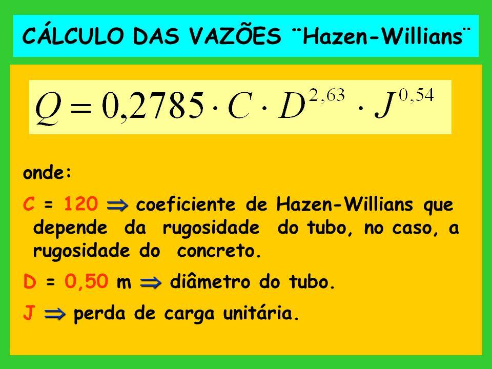 onde: C = 120 coeficiente de Hazen-Willians que depende da rugosidade do tubo, no caso, a rugosidade do concreto. D = 0,50 m diâmetro do tubo. J perda