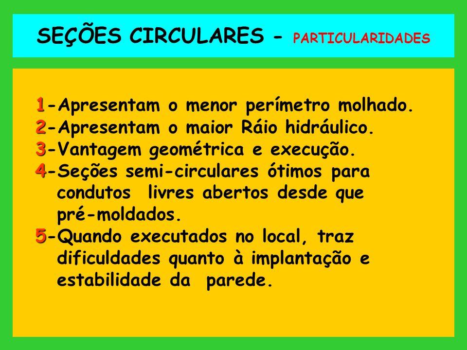 SEÇÕES CIRCULARES - PARTICULARIDADES 1 1-Apresentam o menor perímetro molhado. 2 2-Apresentam o maior Ráio hidráulico. 3 3-Vantagem geométrica e execu