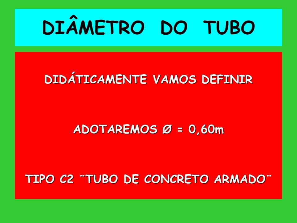 DIÂMETRO DO TUBO DIDÁTICAMENTE VAMOS DEFINIR ADOTAREMOS Ø = 0,60m TIPO C2 ¨TUBO DE CONCRETO ARMADO TIPO C2 ¨TUBO DE CONCRETO ARMADO¨