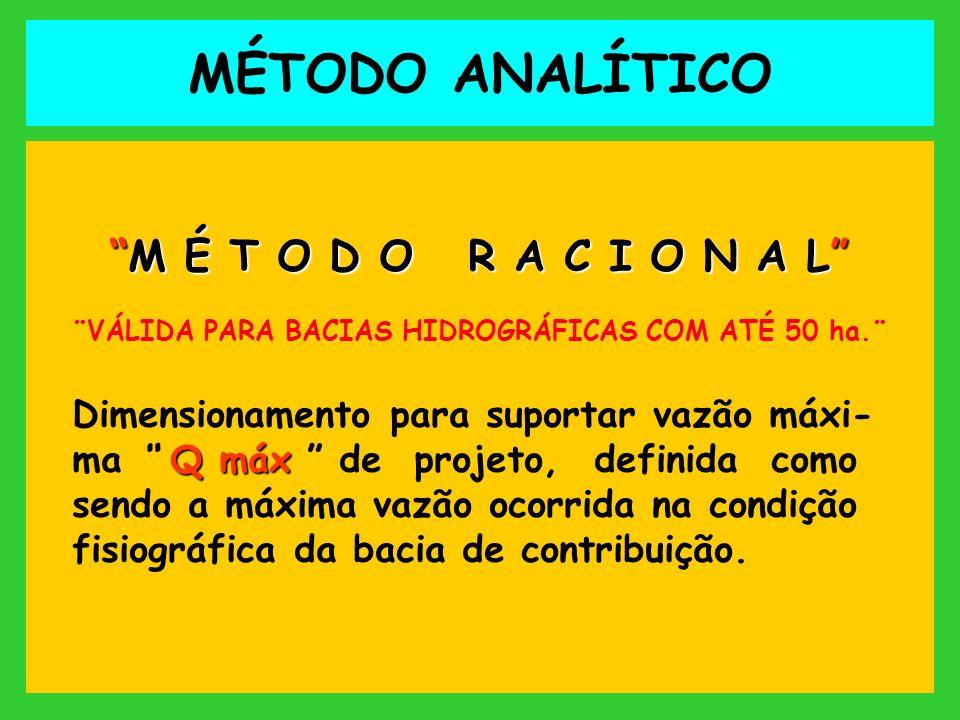 Q Método Racional Calculara a vazão ¨Q¨ calculada para cada trecho pelo Método Racional, seguindo a fórmula : QciA Q = 0,1667 x c x i x A Qm³seg.