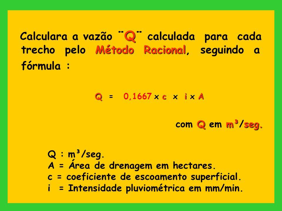 Q Método Racional Calculara a vazão ¨Q¨ calculada para cada trecho pelo Método Racional, seguindo a fórmula : QciA Q = 0,1667 x c x i x A Qm³seg. com