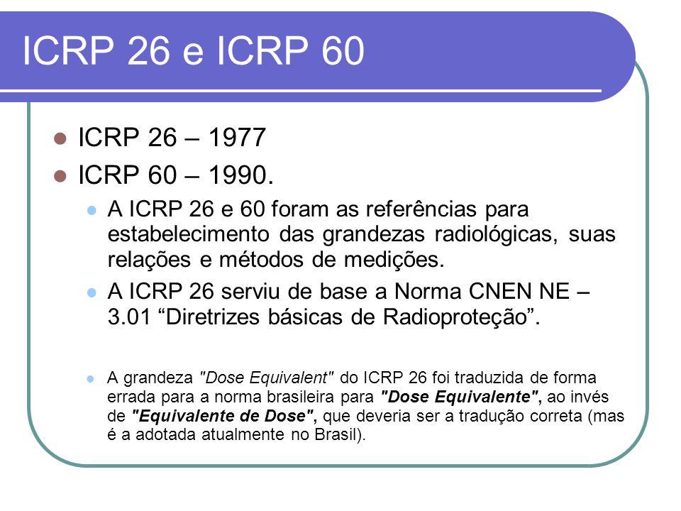 ICRP 26 e ICRP 60 ICRP 26 – 1977 ICRP 60 – 1990. A ICRP 26 e 60 foram as referências para estabelecimento das grandezas radiológicas, suas relações e