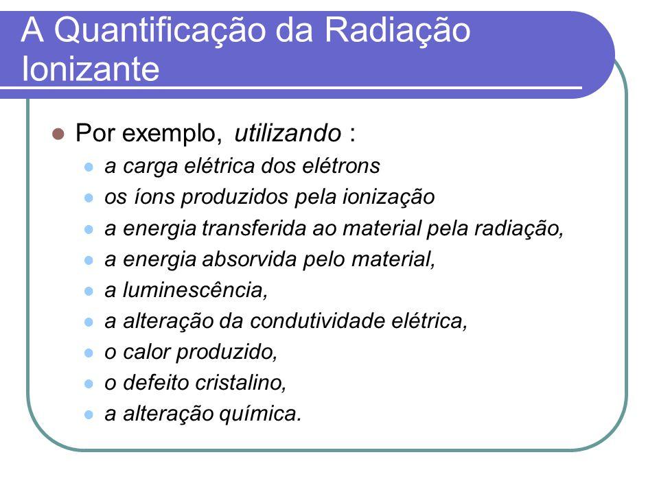 A Quantificação da Radiação Ionizante Por exemplo, utilizando : a carga elétrica dos elétrons os íons produzidos pela ionização a energia transferida