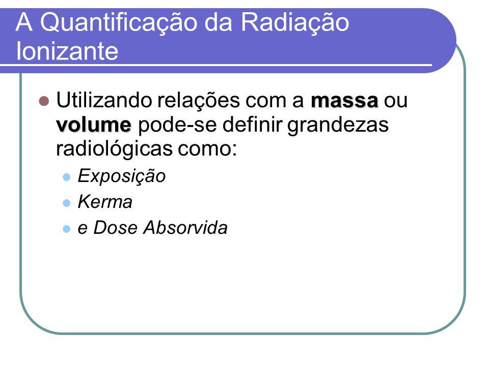 A Quantificação da Radiação Ionizante massa volume Utilizando relações com a massa ou volume pode-se definir grandezas radiológicas como: Exposição Ke