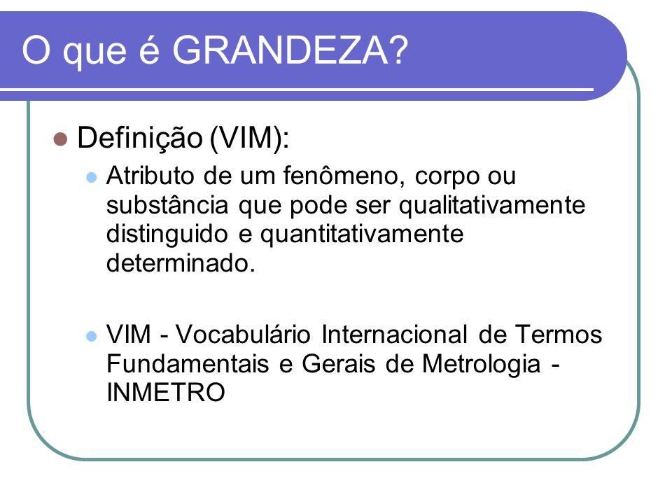 O que é GRANDEZA? Definição (VIM): Atributo de um fenômeno, corpo ou substância que pode ser qualitativamente distinguido e quantitativamente determin
