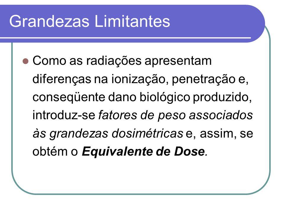 Grandezas Limitantes Como as radiações apresentam diferenças na ionização, penetração e, conseqüente dano biológico produzido, introduz-se fatores de