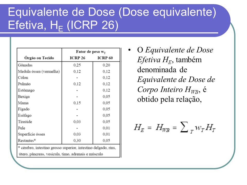 Equivalente de Dose (Dose equivalente) Efetiva, H E (ICRP 26) O Equivalente de Dose Efetiva H E, também denominada de Equivalente de Dose de Corpo Int
