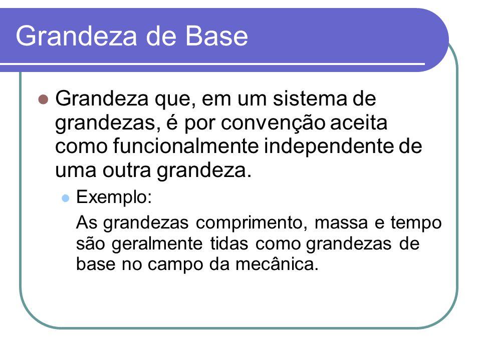 Grandeza de Base Grandeza que, em um sistema de grandezas, é por convenção aceita como funcionalmente independente de uma outra grandeza. Exemplo: As