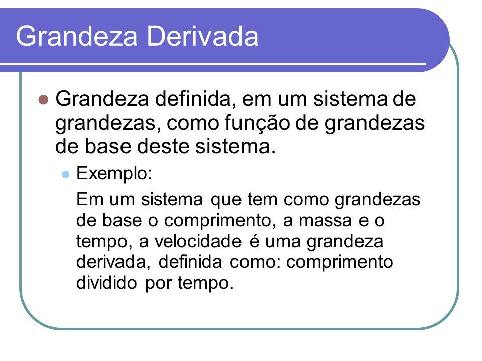Grandeza Derivada Grandeza definida, em um sistema de grandezas, como função de grandezas de base deste sistema. Exemplo: Em um sistema que tem como g