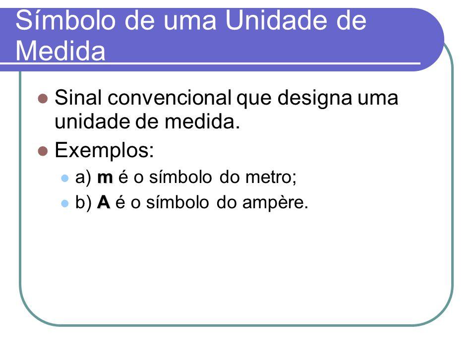 Símbolo de uma Unidade de Medida Sinal convencional que designa uma unidade de medida. Exemplos: m a) m é o símbolo do metro; A b) A é o símbolo do am