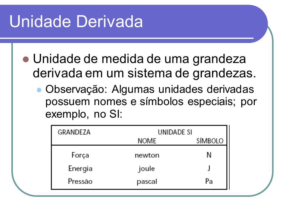 Unidade Derivada Unidade de medida de uma grandeza derivada em um sistema de grandezas. Observação: Algumas unidades derivadas possuem nomes e símbolo
