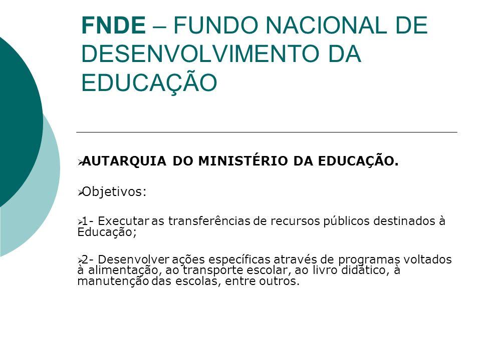 FNDE – FUNDO NACIONAL DE DESENVOLVIMENTO DA EDUCAÇÃO MAIORES INFORMAÇÕES: http://www.fnde.gov.br/home/index.jsp