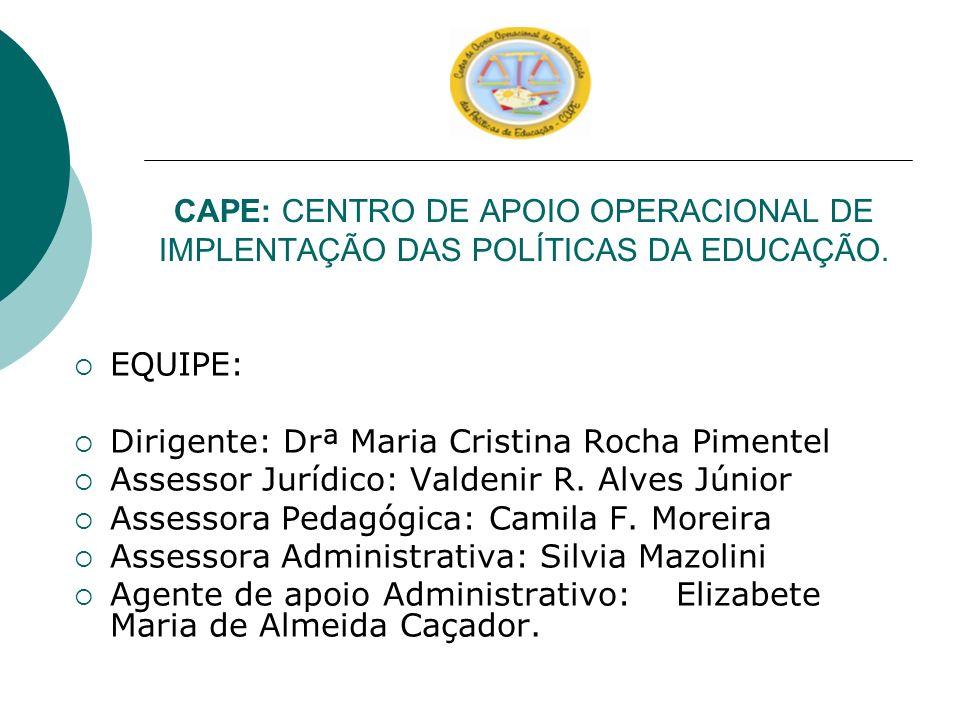 CAPE: CENTRO DE APOIO OPERACIONAL DE IMPLENTAÇÃO DAS POLÍTICAS DA EDUCAÇÃO.