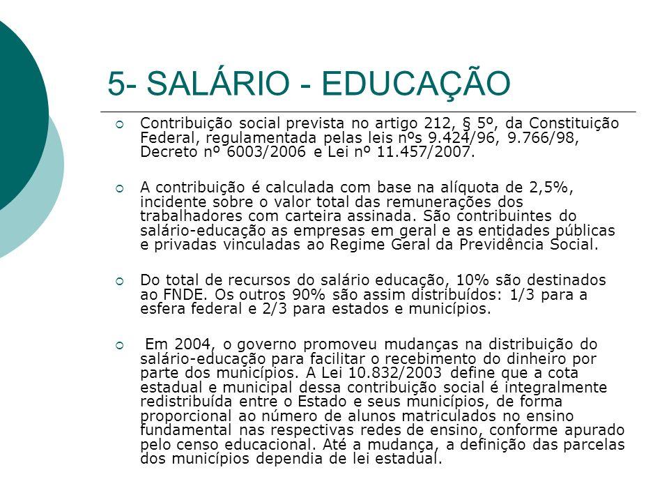 5- SALÁRIO - EDUCAÇÃO Contribuição social prevista no artigo 212, § 5º, da Constituição Federal, regulamentada pelas leis nºs 9.424/96, 9.766/98, Decreto nº 6003/2006 e Lei nº 11.457/2007.