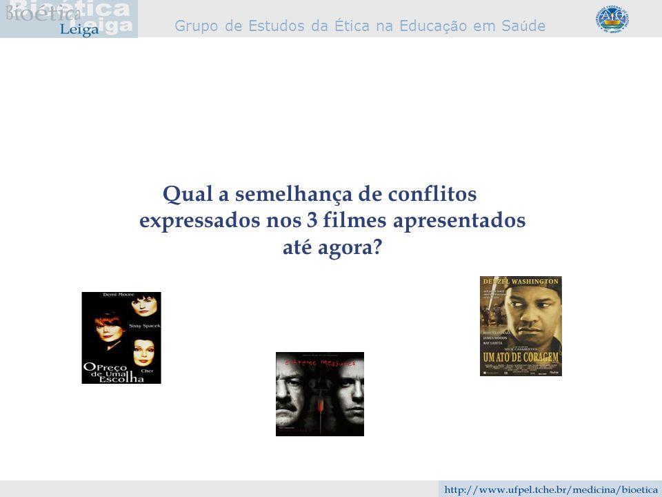 Grupo de Estudos da É tica na Educa çã o em Sa ú de Qual a semelhança de conflitos expressados nos 3 filmes apresentados até agora?