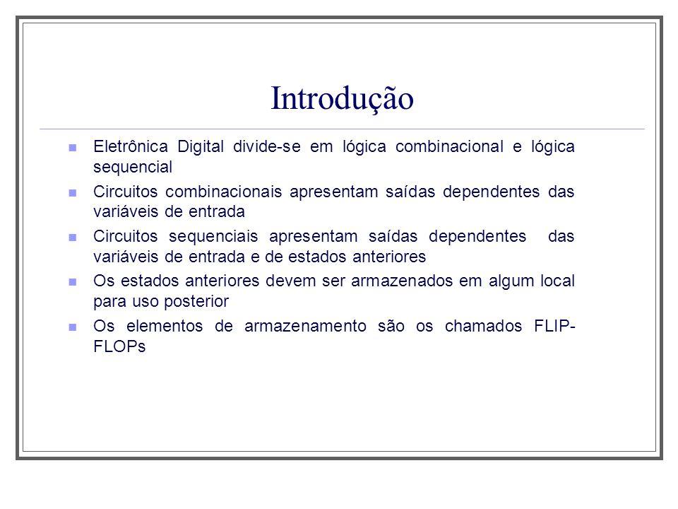 Introdução Eletrônica Digital divide-se em lógica combinacional e lógica sequencial Circuitos combinacionais apresentam saídas dependentes das variáve