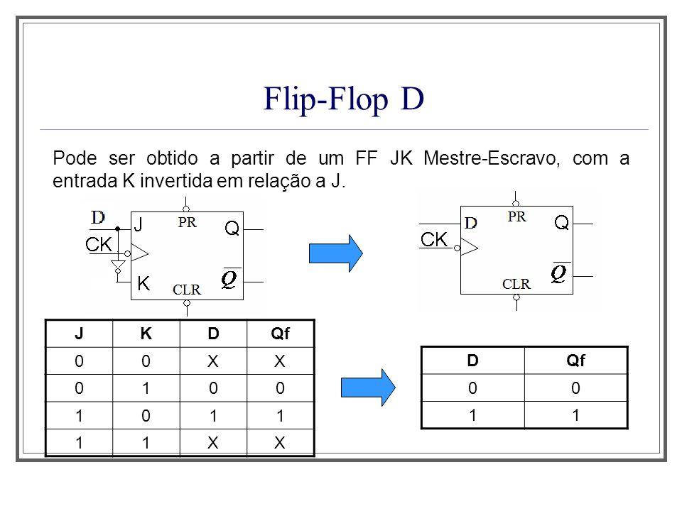 Flip-Flop D Pode ser obtido a partir de um FF JK Mestre-Escravo, com a entrada K invertida em relação a J. JKDQf 00XX 0100 1011 11XX D 00 11
