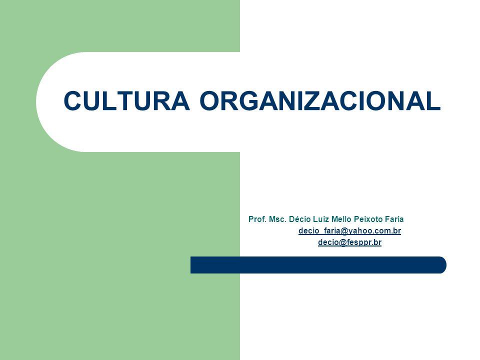 CULTURA ORGANIZACIONAL Prof. Msc. Décio Luiz Mello Peixoto Faria decio_faria@yahoo.com.br decio@fesppr.br