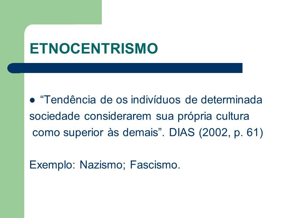 ETNOCENTRISMO Tendência de os indivíduos de determinada sociedade considerarem sua própria cultura como superior às demais. DIAS (2002, p. 61) Exemplo