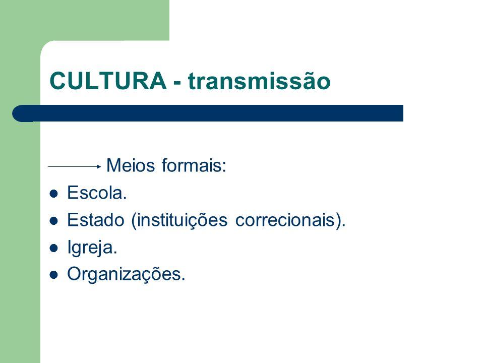 CULTURA - transmissão Meios formais: Escola. Estado (instituições correcionais). Igreja. Organizações.