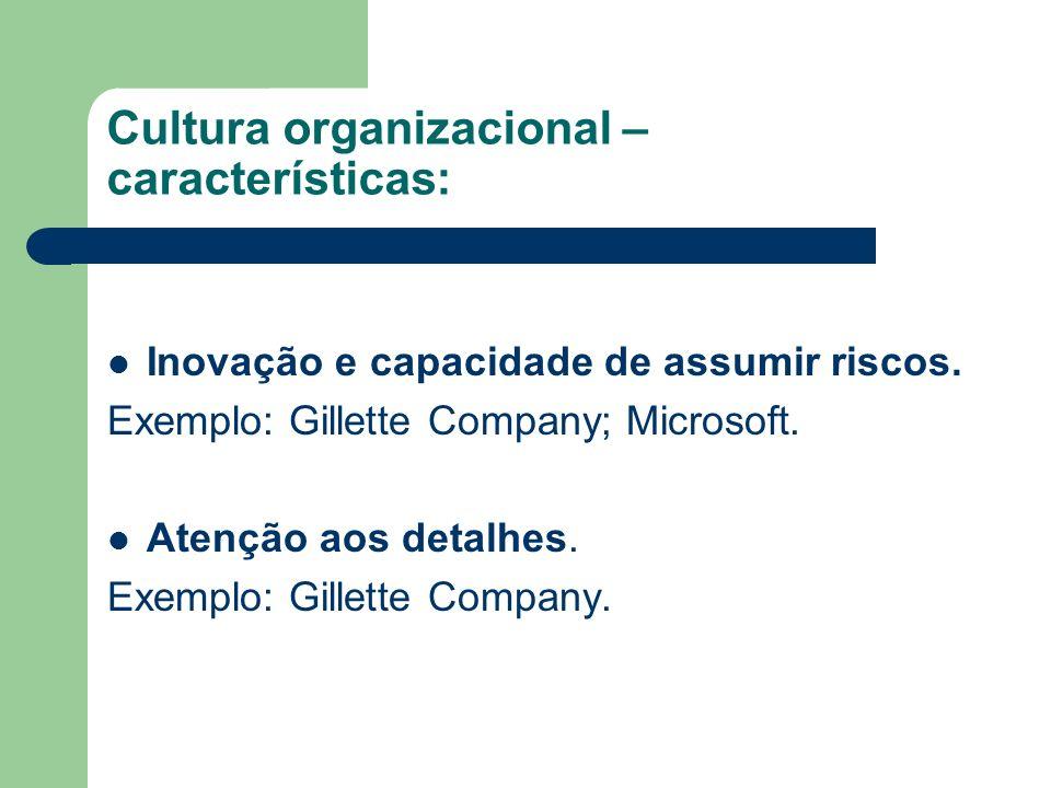 Cultura organizacional – características: Inovação e capacidade de assumir riscos. Exemplo: Gillette Company; Microsoft. Atenção aos detalhes. Exemplo
