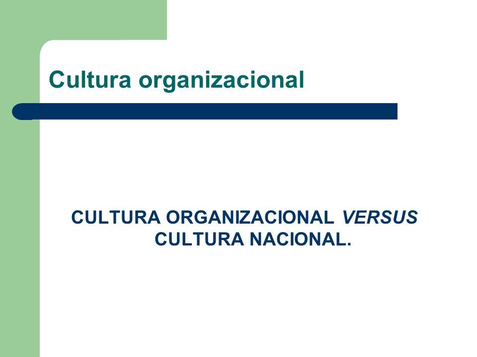 Cultura organizacional CULTURA ORGANIZACIONAL VERSUS CULTURA NACIONAL.