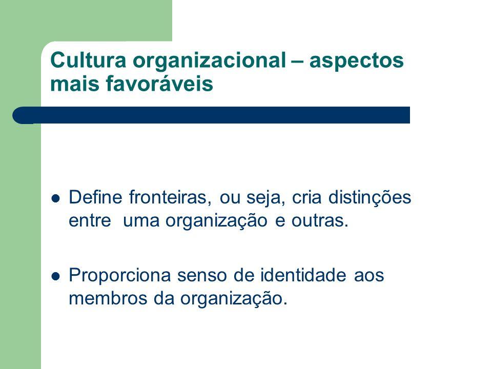 Cultura organizacional – aspectos mais favoráveis Define fronteiras, ou seja, cria distinções entre uma organização e outras. Proporciona senso de ide