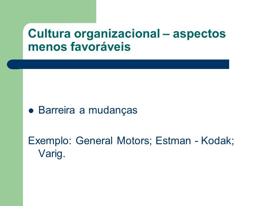 Cultura organizacional – aspectos menos favoráveis Barreira a mudanças Exemplo: General Motors; Estman - Kodak; Varig.