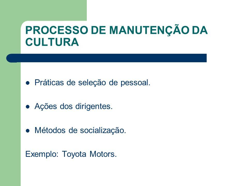 PROCESSO DE MANUTENÇÃO DA CULTURA Práticas de seleção de pessoal. Ações dos dirigentes. Métodos de socialização. Exemplo: Toyota Motors.