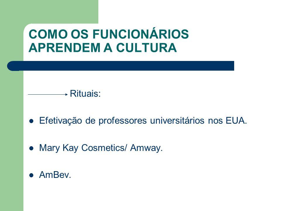COMO OS FUNCIONÁRIOS APRENDEM A CULTURA Rituais: Efetivação de professores universitários nos EUA. Mary Kay Cosmetics/ Amway. AmBev.
